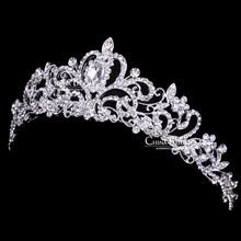 Strass Crown Haarband vintage Kristall Braut Tiara Hochzeit Zubehör Frauen Partei Pageant Blume Schmuck Silber überzogene(China (Mainland))