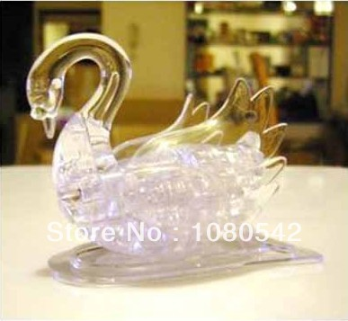 Hot toys Crystal 3D Puzzle Swan DIY Funny toys puzzles for girls(China (Mainland))