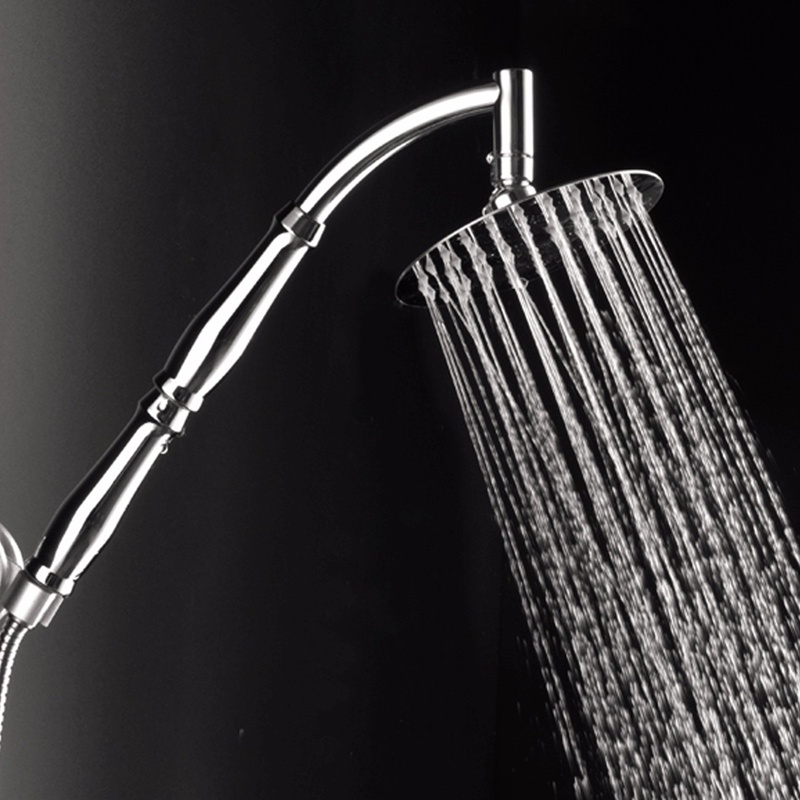 High Grade 8 inch Wall Mounted Round Rain Shower Head Stainless Steel Extension Shower Neck Arm Hose(China (Mainland))