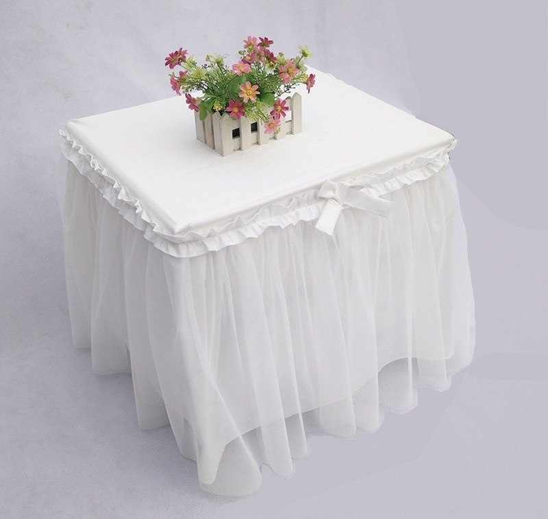 2016 bedside table decoration cover Romantic sweet tablecloth cotton lace yarn princess table skirt wedding decor customizable