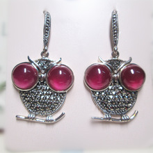 [Htys] Thai silver S925 sterling silver jewelry wholesale unique lady owl earrings red corundum
