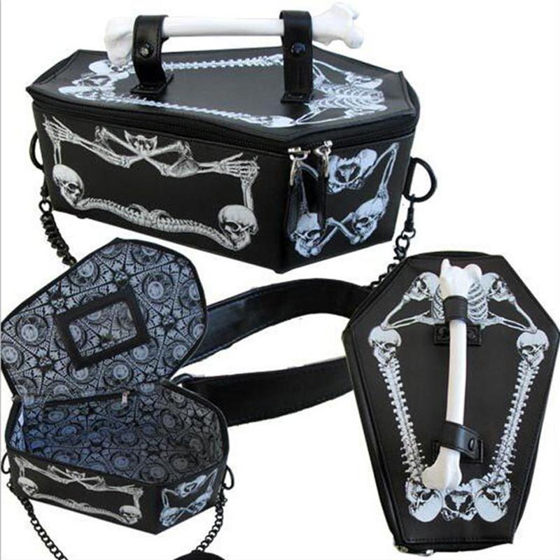 Fashion Hot Japan Harajuku Cosplay Skull Head Bone Box Tote Bag Messager Crossbody Bags Vampire Coffin Bags