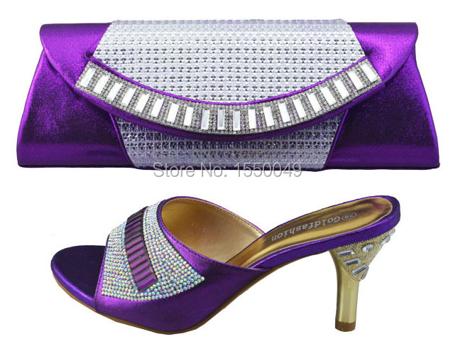 Фотография New Arrival Fashion Italy shoe and bag set for lady party and wedding NO.BT30501 Size 38.39.40.41.42 purple