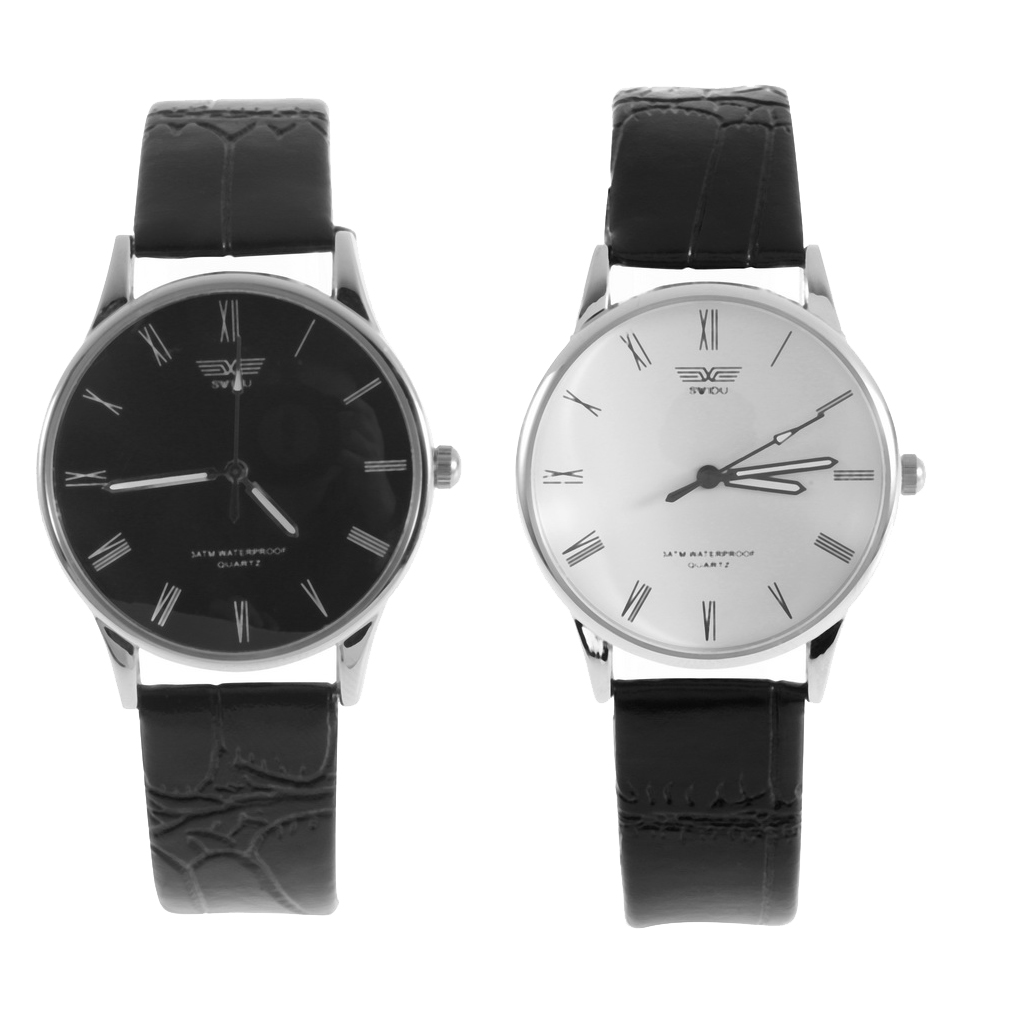 men's watch Luxury Watches PU Leather Stainless Steel Quartz Numeral Couple Wrist Watch Cool Classical Black White - Richard Xiao's Online Store store