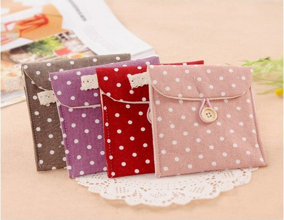 Sweet&fresh style Wave point design Cotton and linen material Sanitary napkins to receive package Ms private goods receive bag(China (Mainland))