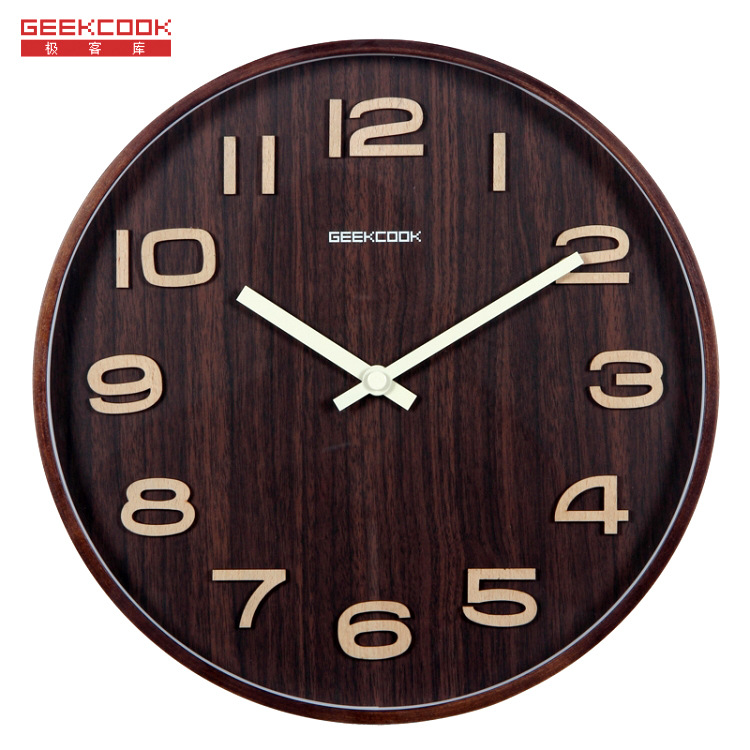 35*35cm Home Decor Solid Wood digital 3d wall clock large decorative clocks decoracion hogar unusual birthday gifts