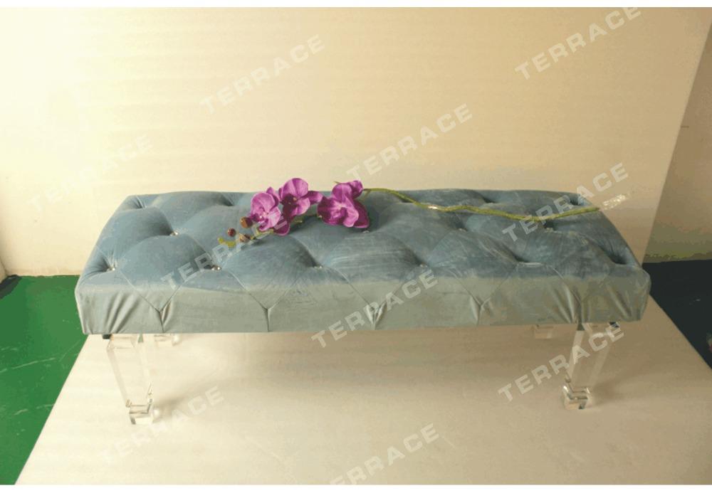 stylish upholstered long rectangular acrylic lucit acrylic legs for furniture