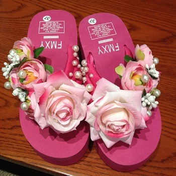 Summer  Rose Floral and Beading Beach Wedges Flip Flops Women'S Sandals Womens Shoes Chausson Femme Schoenen Woman Shoes