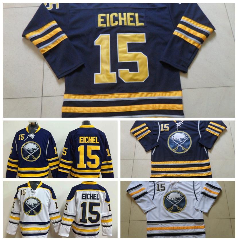 2016 Jack Eichel Jersey Cheap Buffalo Sabres #15 Jack Eichel Hockey Jersey Navy Blue White Authentic Stitched Hockey Jerseys(China (Mainland))