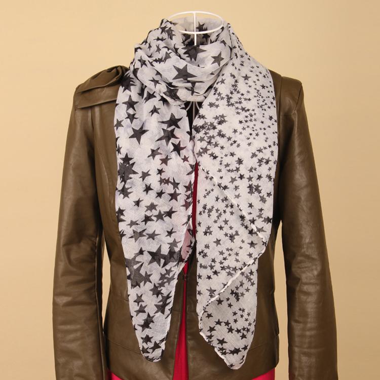 2015 New Hot Fashion Bohemian Chiffon Wrap Shawl Scarves Silk Blocking Pentacle Scarf Free Shipping