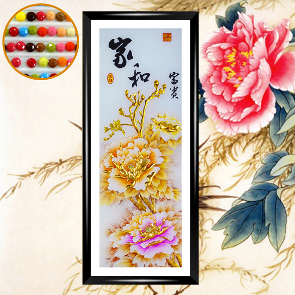 2015 New Resin Round Diamond Painting diy Counted Cross Stitch Diamond Embroidery Gold Peony Paintings Floral Flower Picture(China (Mainland))