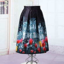 New Fashion Retro Vintage Women Style 3D Printed High Waist Ball Gown Midi Spring Summer pleated Tutu Ladies Saias Sexy Skirts