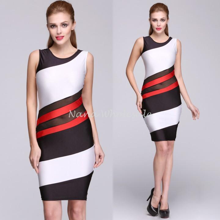 Stylish New Fashion Women Sleeveless O-neck Mini Sexy Stretch Stripped Tank Dress 18(China (Mainland))