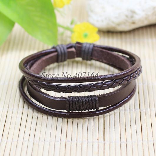 SF122-Jewelry Items Multilayers Brown braided Genuine Leather Bracelete Men Wristband Women Pulseira Masculina Feminina - SunFlower Trade Co.,Ltd store