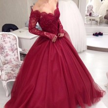 Buy Saudi Arabia Lace Dark Red Wedding Dresses 2017 Puffy Ball Gown Long Sleeve Wedding Gowns Bridal Bride Dresses Vestido de noiva for $137.28 in AliExpress store