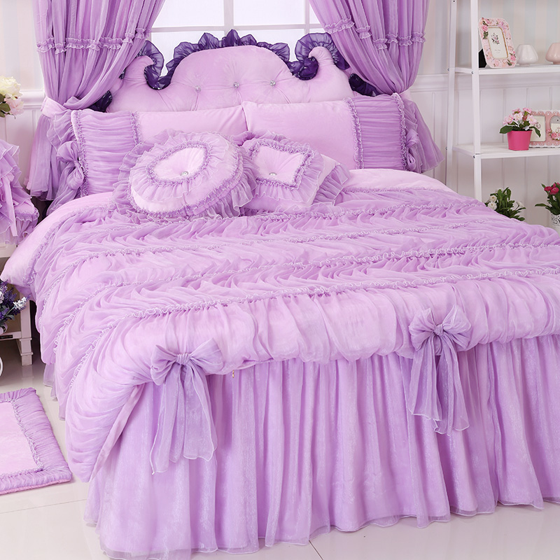 Buy princess lace pink purple bedding - Purple and pink comforter sets ...