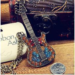 Fashion Chromatic Rhinestone Guitar Sweater Metal Chain Necklace Wholesale Free Shipping Cheap Statement Jewelry Women 2014 PT33