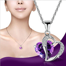 2015 luxury brand Fashion Women Heart shaped Crystal Rhinestone Silver Chain Pendant Necklace alloy Fine Charm Statement Jewelry(China (Mainland))