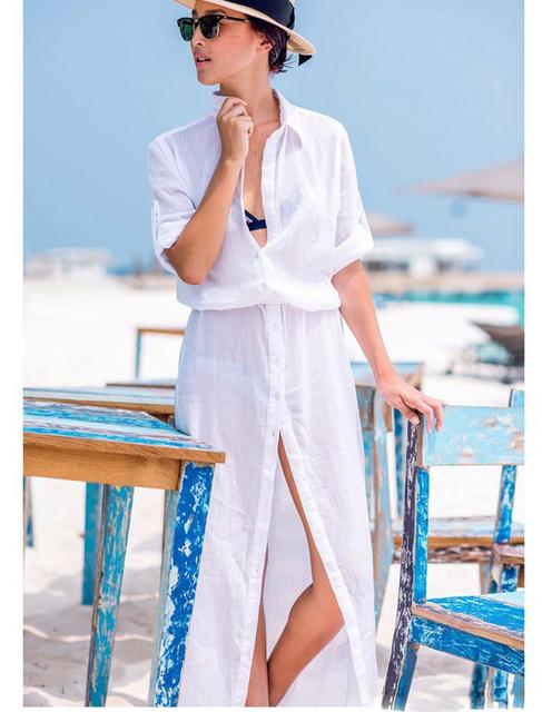 B287 горячая распродажа белый свободного покроя пляж новинка регулируется рукав женщины пляж долго стиле сексуальные женщины лето одежда для пляжа
