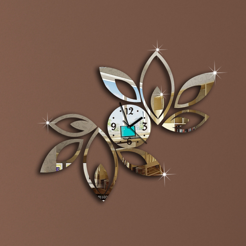 silver Big flower wall clock modern design luxury mirror clock,3d crystal clocks,best gift!