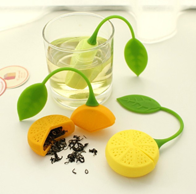 FoodyMine Tea Strainer Silicone Strawberry Lemon Design Loose Tea Leaf Strainer Bag Herbal Spice Infuser Filter Tools