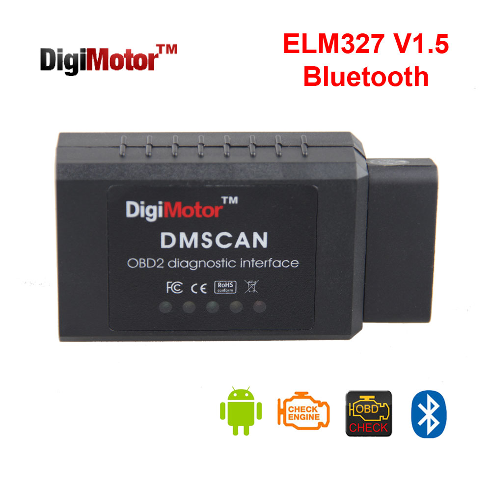 Digimotor Original ELM327 V1.5 Bluetooth OBD2 2016 ELM 327 V 1.5 OBDII Code Reader Diagnostic Tool Mini Scanner OBD 2 Car OBD-II(China (Mainland))