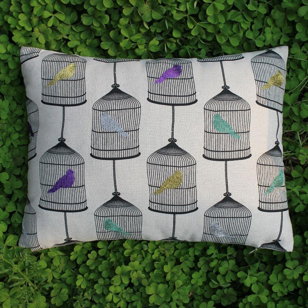 "VEZO HOME embroidered colorful birds print birdcage cotton linen sofa home decorative cushion chair car seat throw pillowcase18""(China (Mainland))"