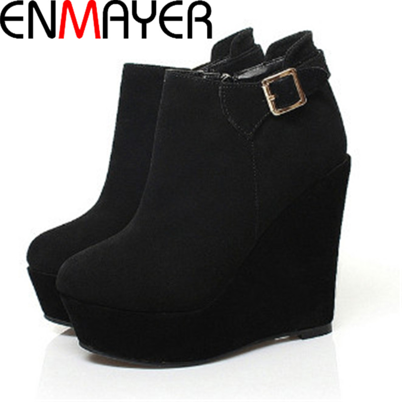 ENMAYER Round Toe wedges High Boots Zip Spring  Autumn ankle boots for women platform Leather Boots new banquet sexy shoes women