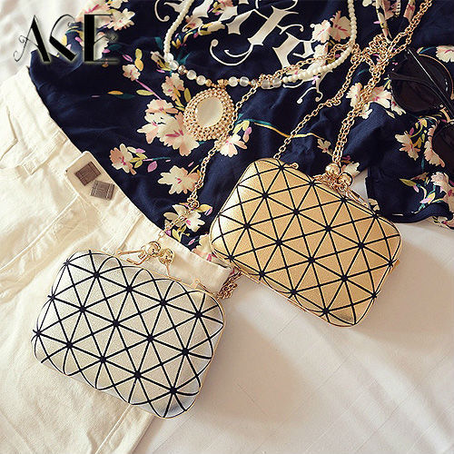 Новинка геометрические решетки алмаза золотой цвет женщины вечерние сумки дамы свадебное сумки муфты дня мини-кошелька ну вечеринку мешок