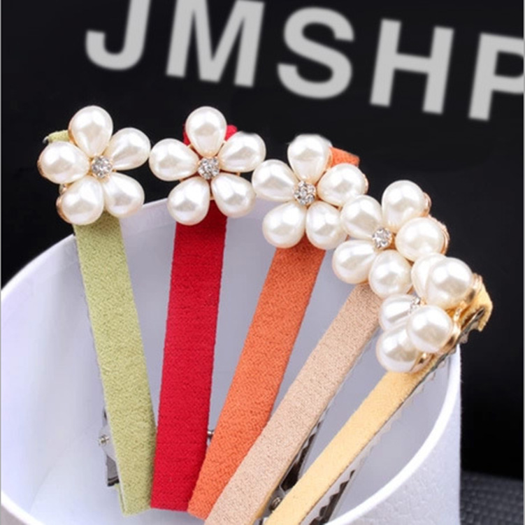 hair Exquisite fashion five petals pearl fabric hair clips Female diy craft tire wholesale(China (Mainland))