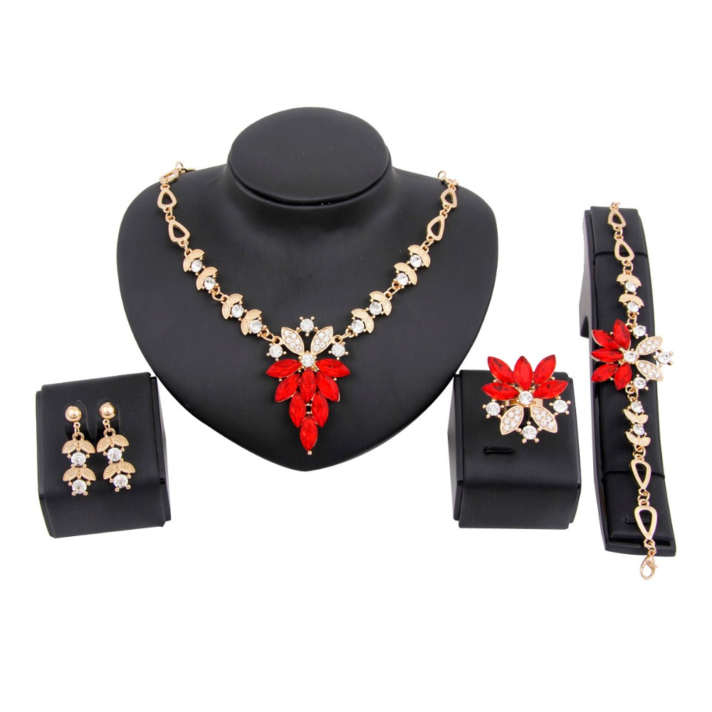 Fashion African beads jewelry set Gold Plated Wedding Bridal Jewelry Sets for Women Crystal Rhinestone Chain Necklace Party Gift(China (Mainland))