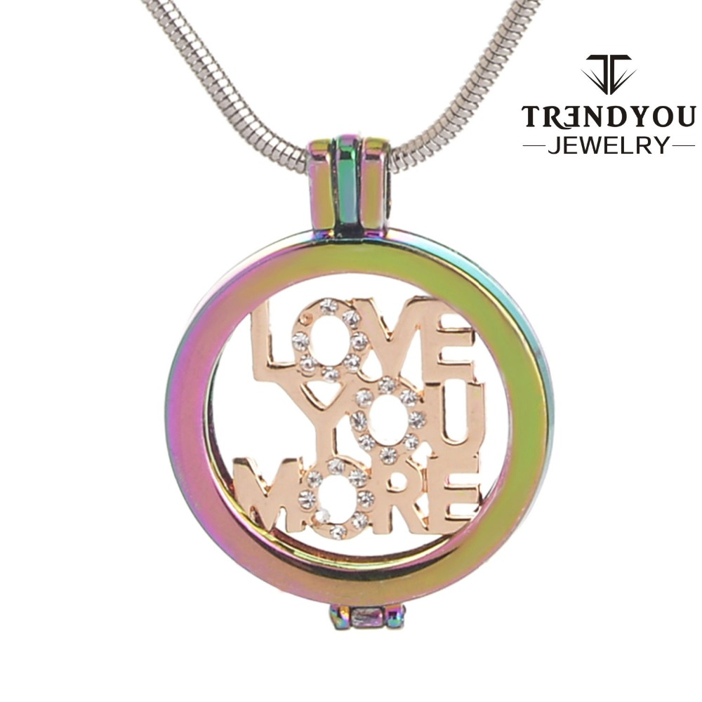 TRENDYOU Jewelry 34mm Colorful Zircon Border Letter Mi Coin For My Coin Pendant Necklace For Women DIY Jewelry Gift Box(China (Mainland))