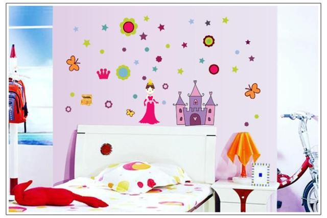 Комикс принцесса замок дети комната для девочки спальня стена наклейки пвх охраны окружающей среды 7028