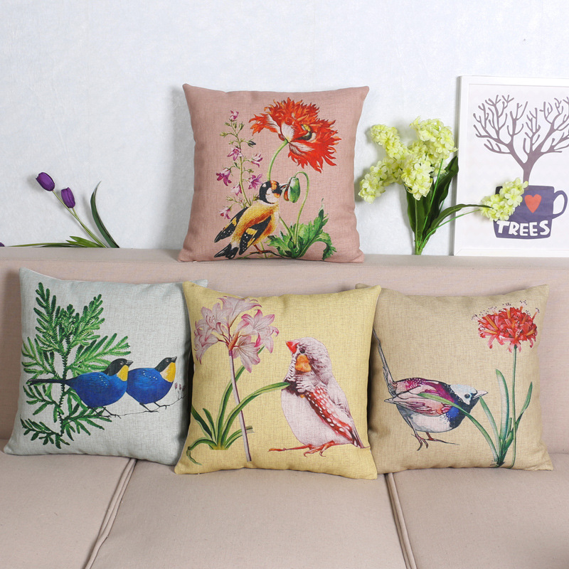 45cm Spring Fat Birds Fashion Cotton Linen Fabric Throw Pillow Hot Sale 18 Inch New Home Decor Sofa Car Cushion Office Nap FR
