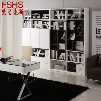 Free Shipping Fshs modern brief black and white big capacity multifunctional large bookcase bookshelf drawer