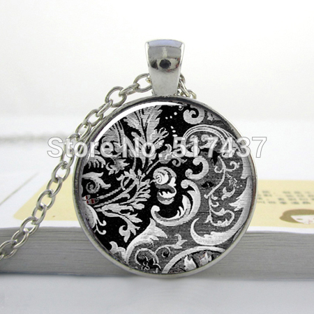 Victorian Textile necklace , black and white art glass dome pendant necklace, Victorian necklace charm(China (Mainland))
