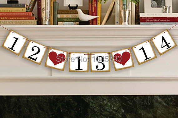 Гаджет  Free Shipping 1 X New Golden Side Customized Date Bunting Banner Wedding Photo Booth Props Birthday Decoration Supplies None Дом и Сад
