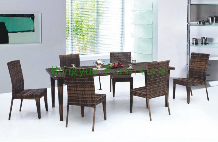 rattan dining table and chairs dining furniture set in dining room