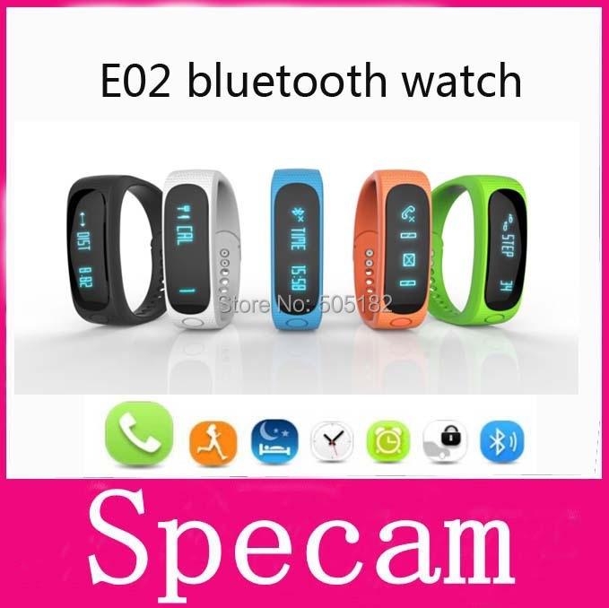 E02 Sport bluetooth bracelet smart watch healthy Silicone Wristband Time/Caller ID/alarm/Pedometer Sleep Monitor for IOS Android(China (Mainland))