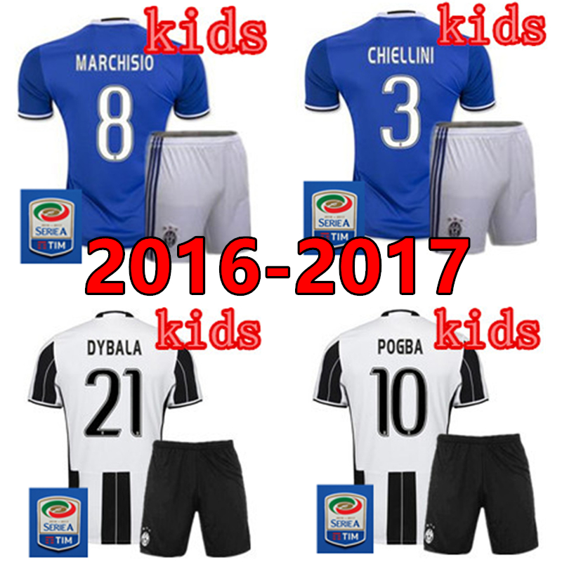 Top thai quality 2016 2017 KIDS KIT child sets boys young JUVENTUSES t SHIRT home black white maillot de foot Free Shipping(China (Mainland))