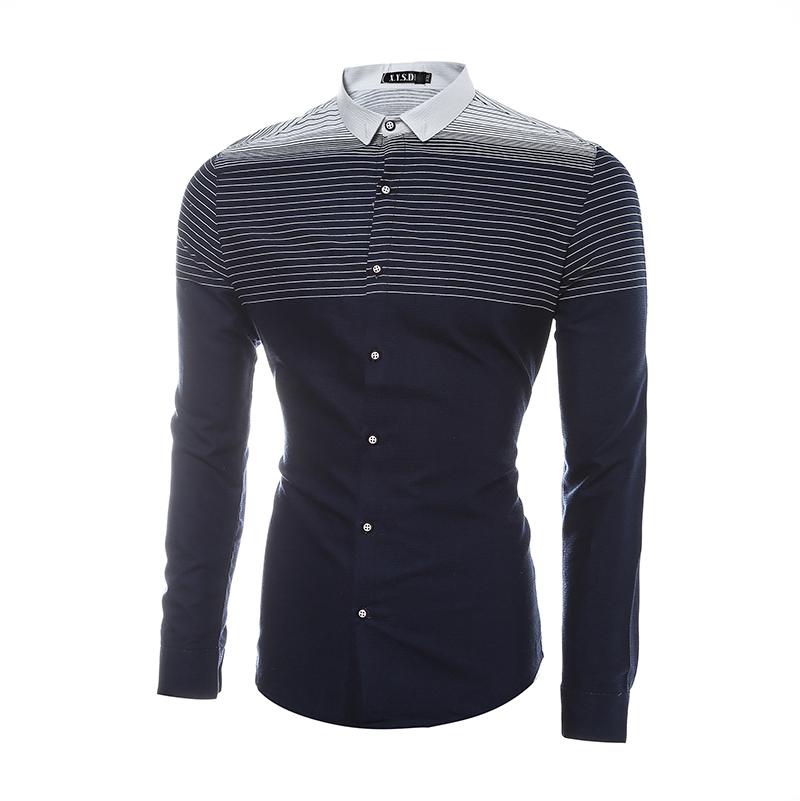 2016 Spring Brand clothing Men Shirt Stripe Hit Color Long-Sleeve Shirt Casual Slim Fit Shirt Europe/US size