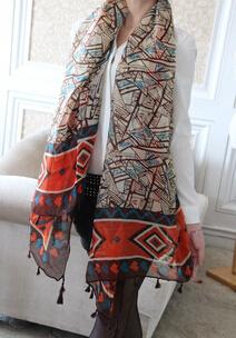 2016 нью-шарфы осень зима шарф для женщин платок негабаритных бали пряжи шарфы геометрические кисточкой шарф