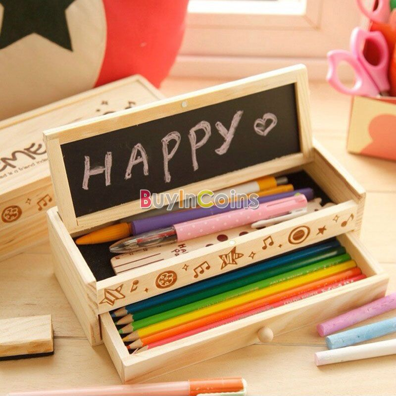 Multifunctional Wooden School Pencil Holder Stationery Bag Pen Case Box Gift US AS #52300(China (Mainland))