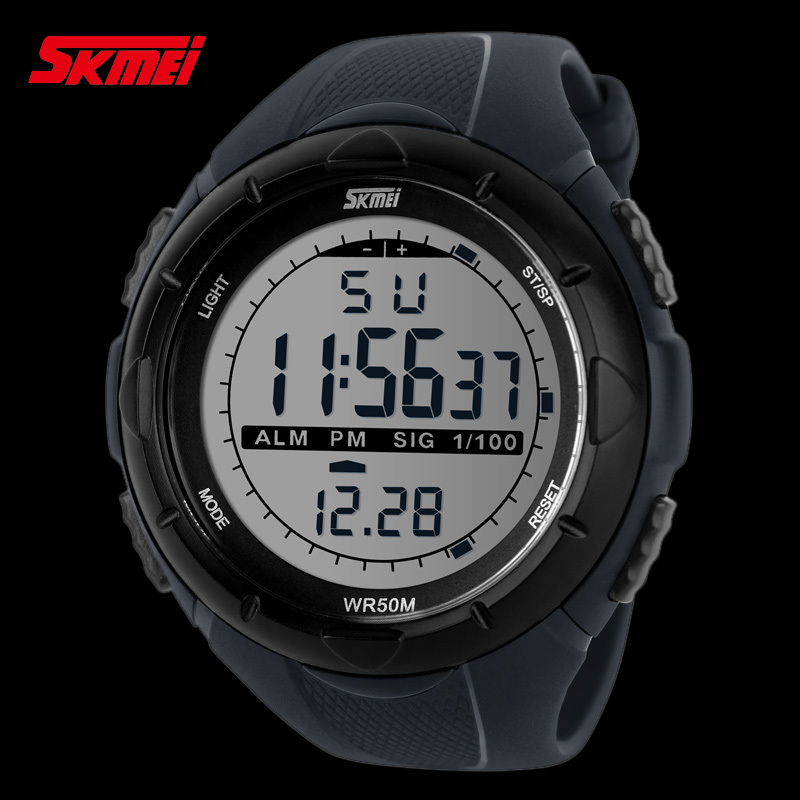 fashion Men LCD Digital Stopwatch Date 50M waterproof Rubber Outside sport wrist Watch L05618