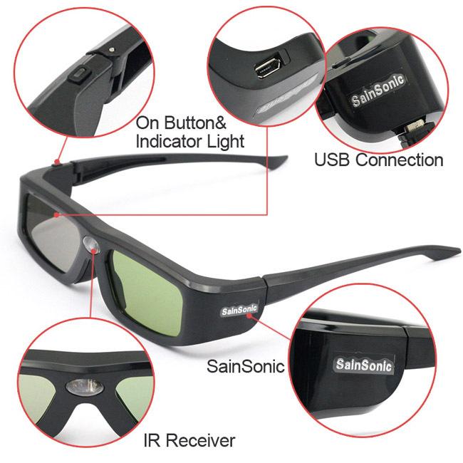 2pcs x SainSonic 144Hz 3D DLP Link Active Glasses for Optoma BenQ SamSung Sharp Acer