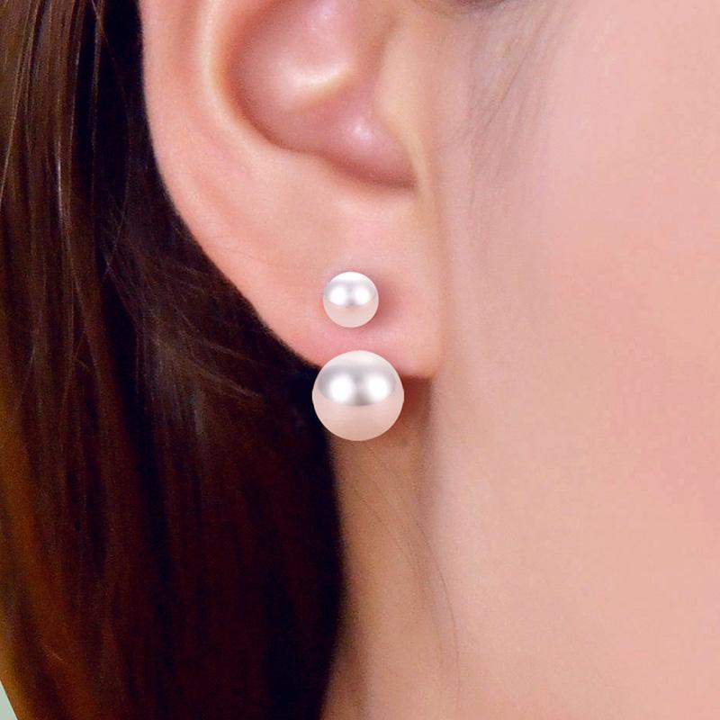 Bersun 2016 New 925 Sterling Silver Stud Earrings Double Sided Pearl Earrings Women Korean Fashion Fine Jewelry Ear Studs Gift(China (Mainland))