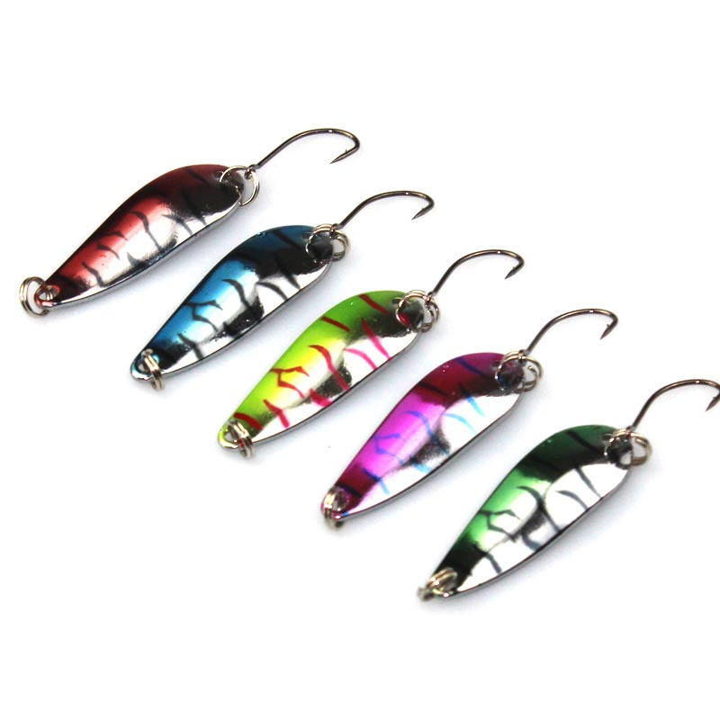 4.2cm 5.6g Spinner Spoon Fishing Lure Metal Fish Lures Hard Wobbler Crankbaits Swim Crank Bait Tiger Stripes<br><br>Aliexpress