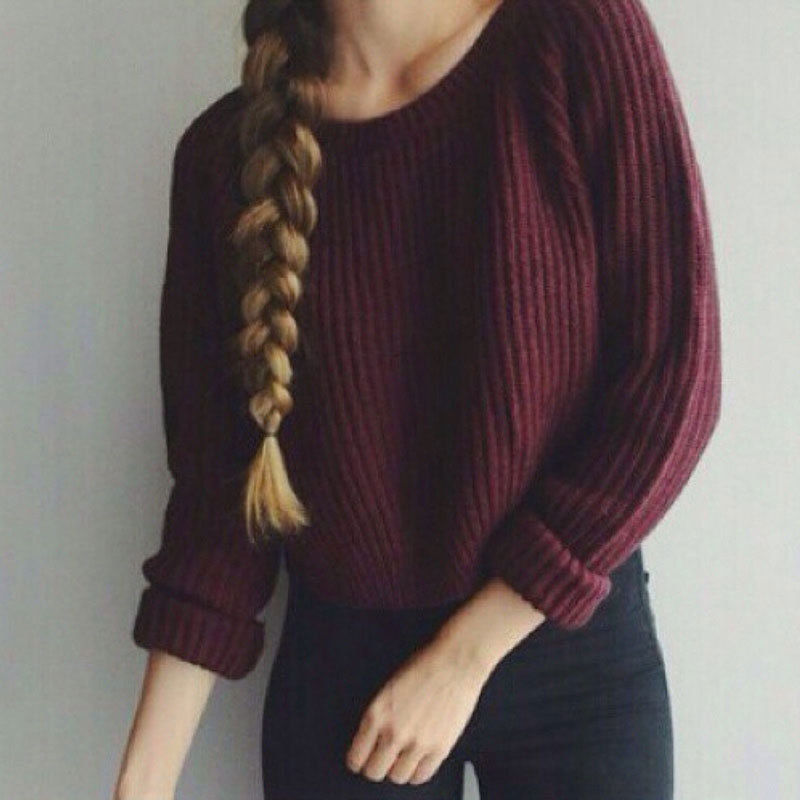 Autumn winter women sweaters and pullovers korean style long sleeve casual crop sweater slim solid knitted jumpers sweter mujer(China (Mainland))