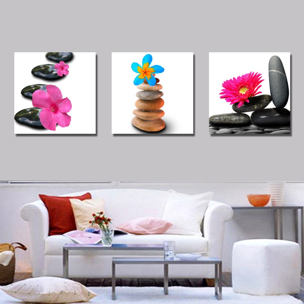3 Panel Free Shipping Popular Flower Wall Artwork Living Room Sofa On Canvas No Framed In