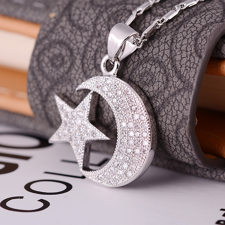 Lovely Moon and Star Galaxy with CZ Crystal Pendant Platinum Plated Chain Pendants Necklace Best Gift(China (Mainland))